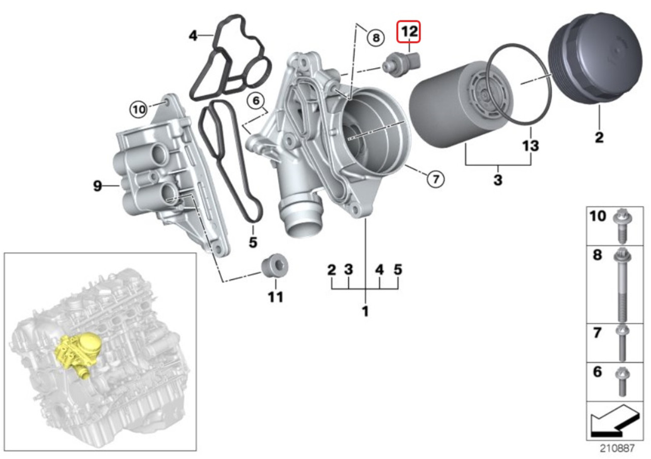 Genuine BMW Oil Pressure Sensor Sending Unit Switch 12617592532