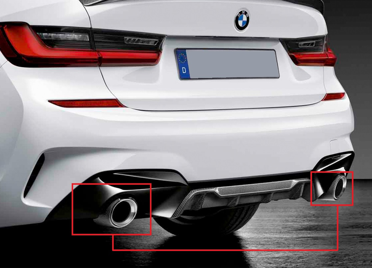 Genuine BMW Set Tailpipe Trim Carbon
