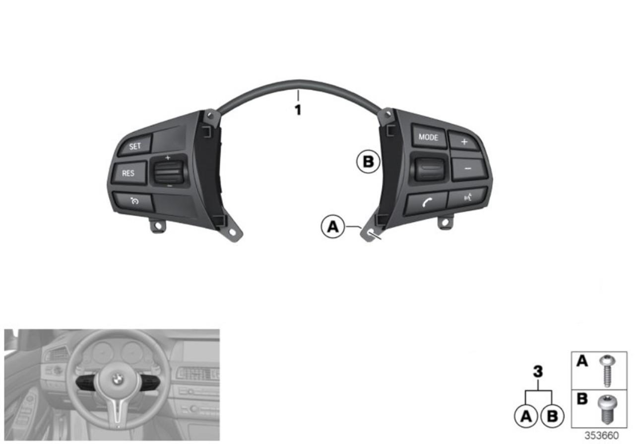 Genuine BMW Steering wheel controls switch 61319261861