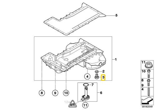Genuine Bmw E46 E60 M3 M5 Oil Drain Plug Screw Bolt X2 Oem 07119904550