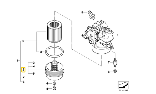 BMW Genuine Cover Cap for Oil Filter Housing E60 M5 S85 E63 E64 M6 11427834730