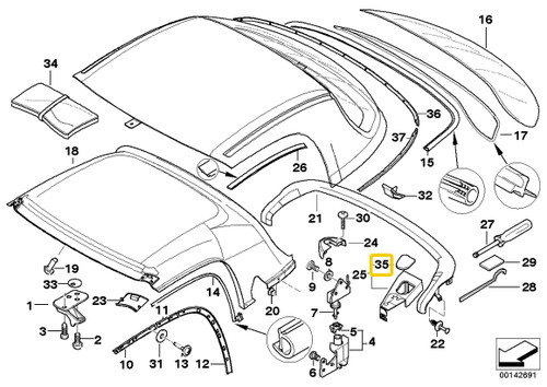 Genuine BMW Hard top lock cover - left 54218411333