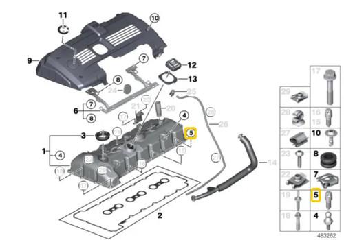 Genuine BMW Aluminum Valve Cover Screws Set 11120409288