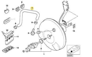 Genuine BMW E46 320 325 330 Vacuum Hose Manifold to Brake