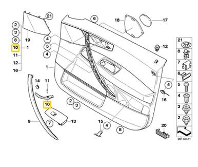 For BMW Genuine Interior Door Handle Rear Right Inner 51413415580