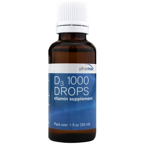 Pharmax D3 1000 Drops - 1 Oz