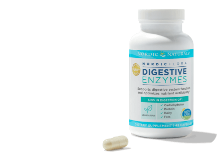 digestive health Nordic Flora bottle with single bill next to bottle
