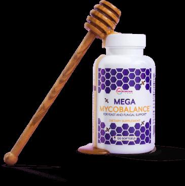womens health Mega Mycobalance bottle with honey dipper dripping honey