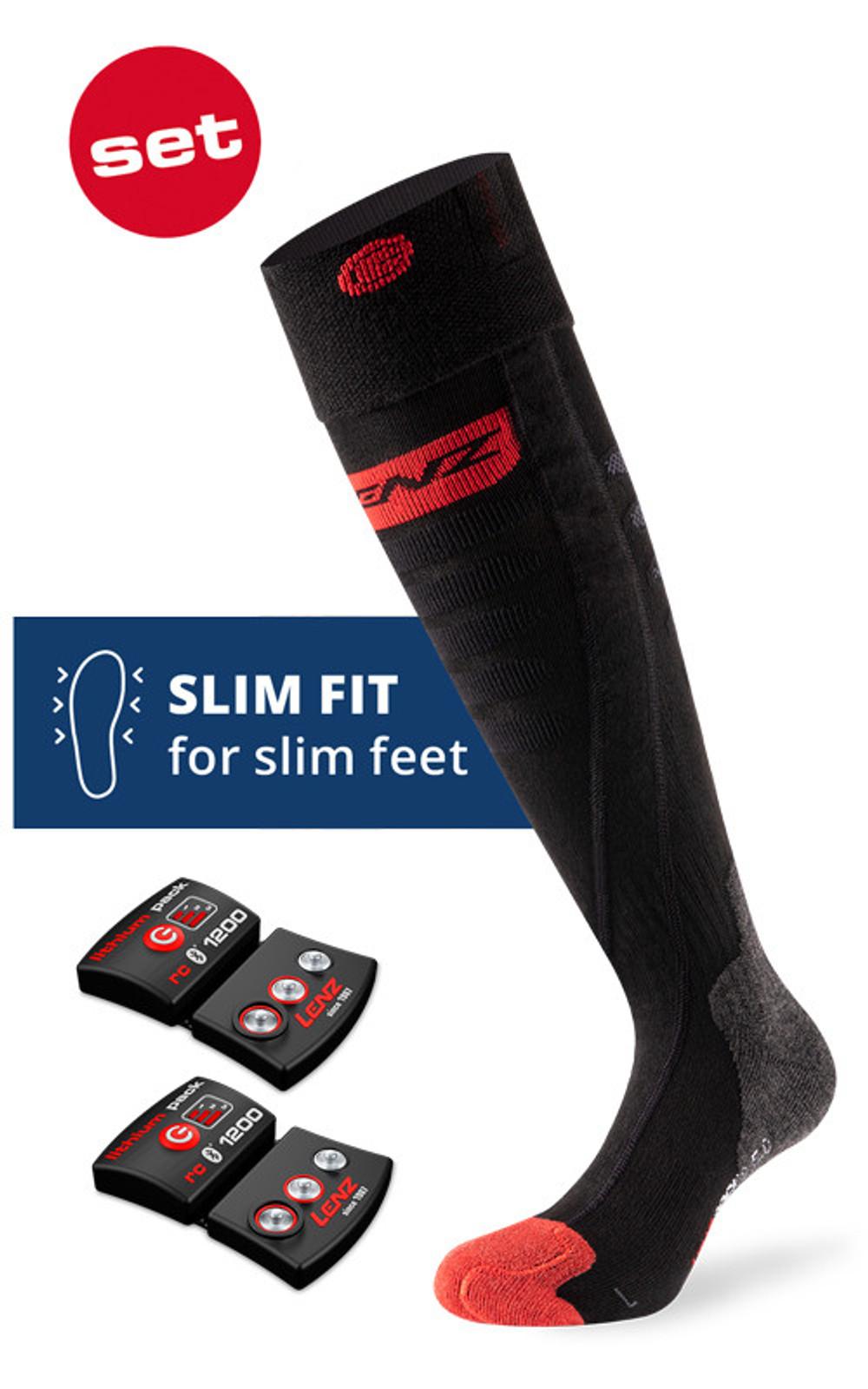 Lenz HEAT SOCK 5.0 TOE CAP SLIM FIT +RCB 1200