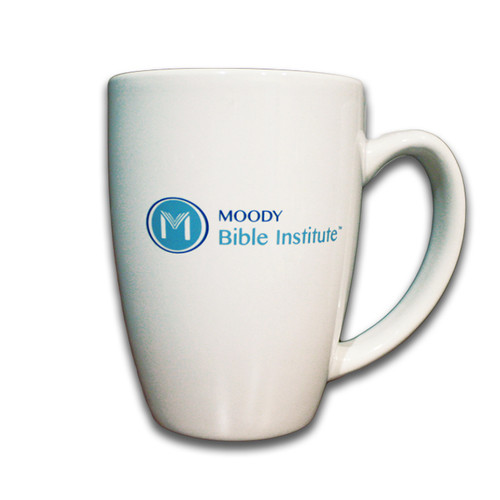 Take MBI to work with this 14 oz white coffee mug!