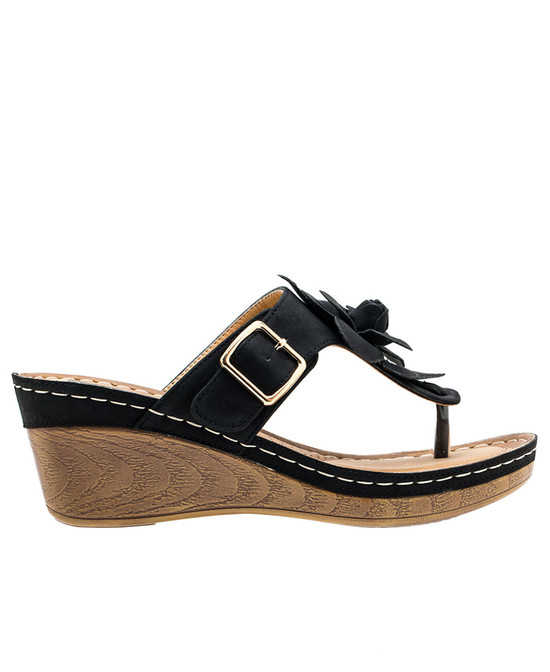 Flora Low Wedge Sandal in Black