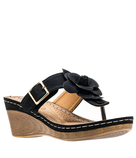 Gc Shoes Flora Comfort Low Easy Slip On Sandal Black