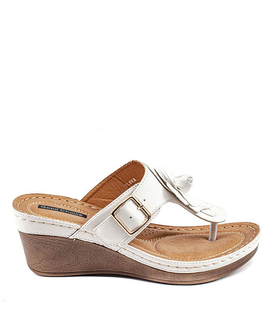 Flora Low Wedge Sandal in White