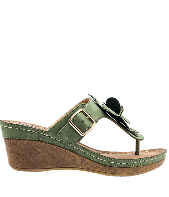 Flora Low Wedge Sandal in Green