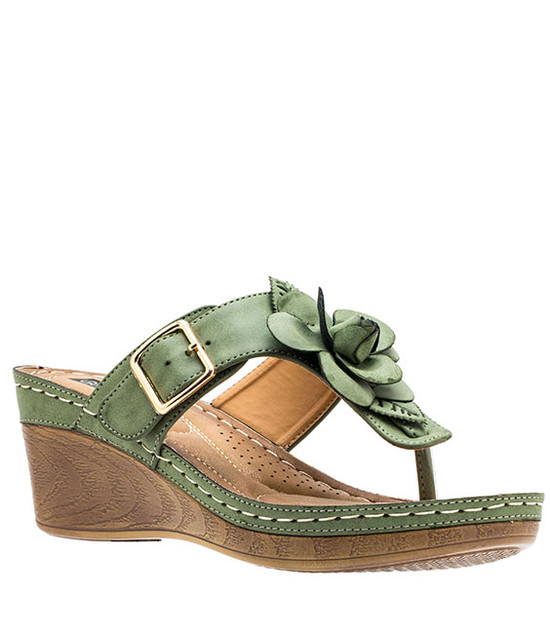 Gc Shoes Flora Comfort Low Easy Slip On Sandal Khaki