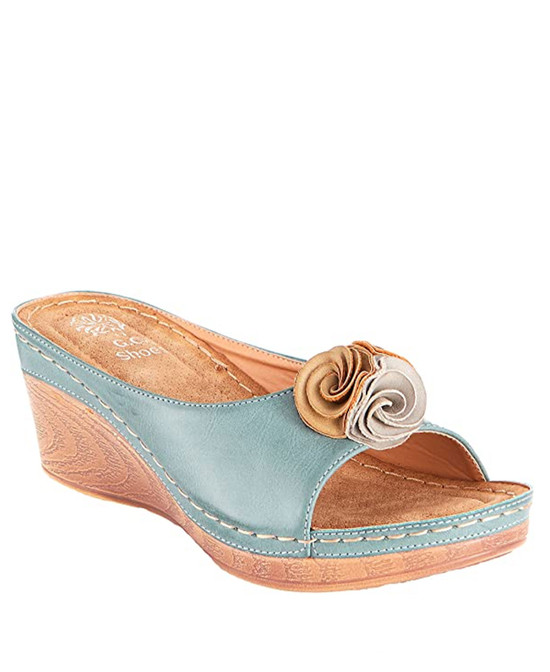 Sydney Low Wedge Sandal in Blue