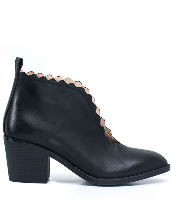 Maris Scalloped Bootie in Black