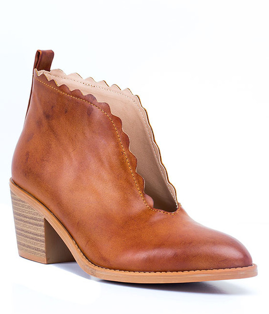 Maris Scalloped Bootie in Tan