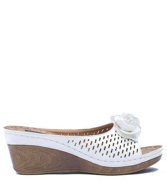 Julliet Slip On Wedge With Ruffle Flower Bronze