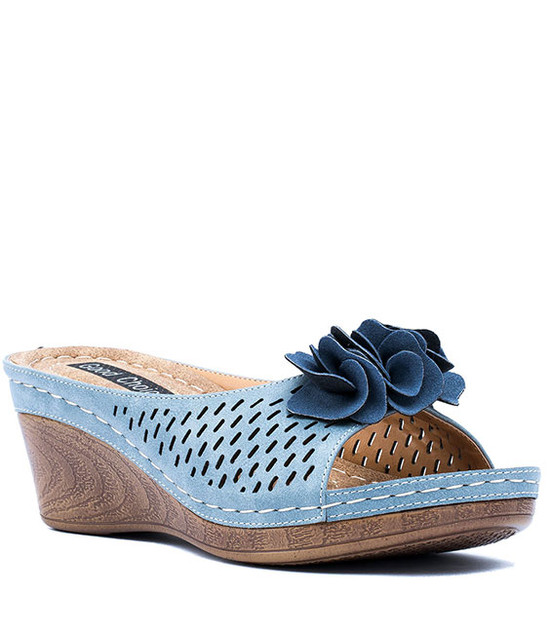 Juliet Low Wedge Sandal in Blue