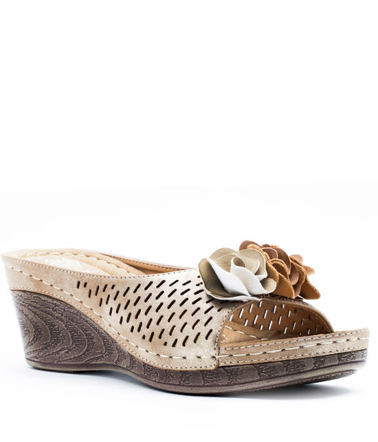 Julliet Slip On Wedge With Ruffle Flower Gold