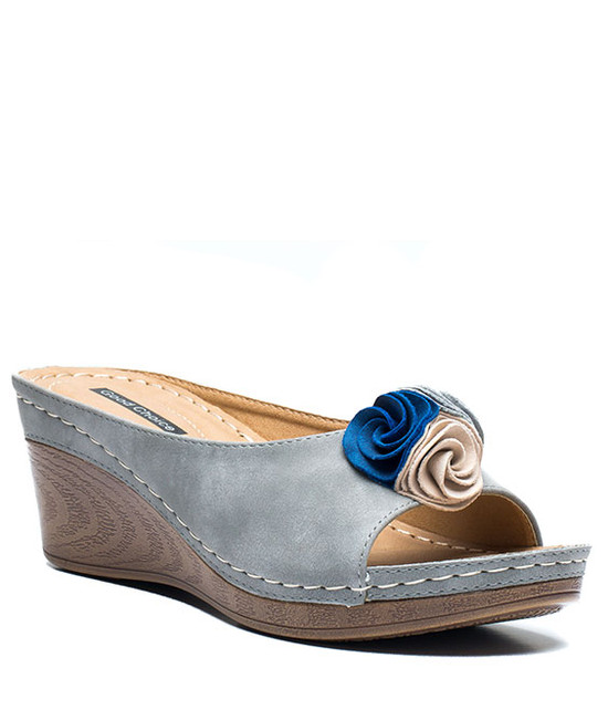 Gc. Shoes Sydney Slip On Wedge With Ruffle Flower Grey