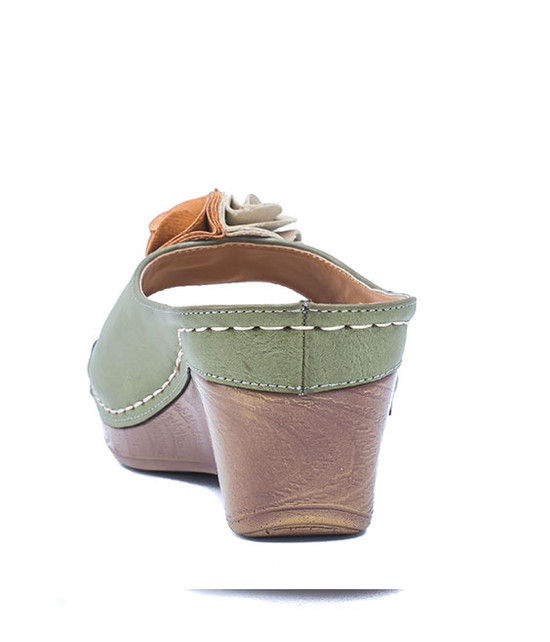 Gc. Shoes Sydney Slip On Wedge With Ruffle Flower Green