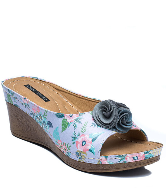 Sydney Slip On Wedge With Ruffle Flower Floral