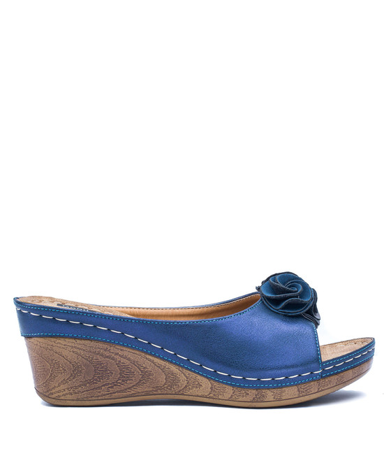 Sydney Low Wedge Sandal in Navy
