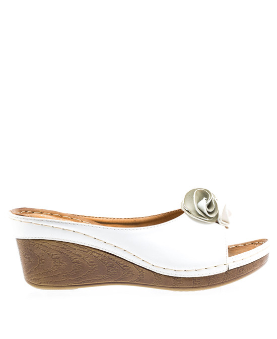 Sydney Low Wedge Sandal in White