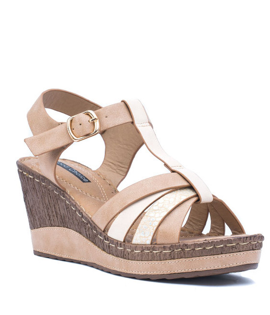 Dulchie Women Slip- On Wedge Sandal Tan