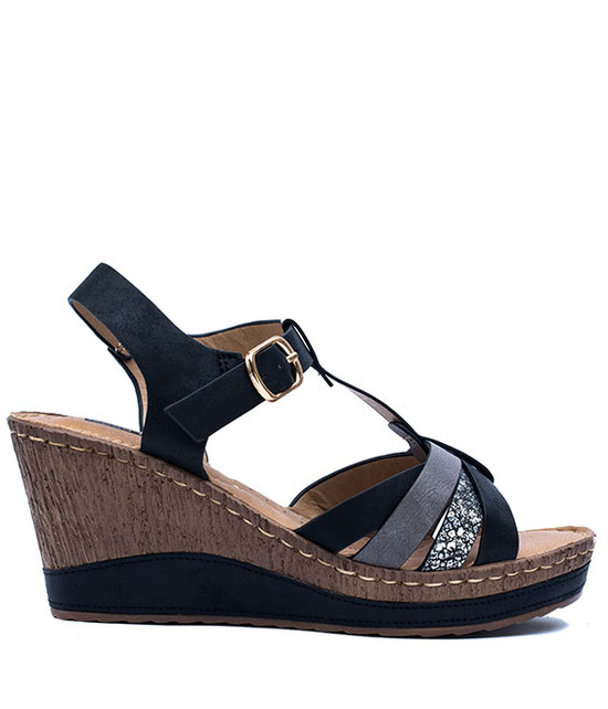 Dulchie Women Slip- On Wedge Sandal Black
