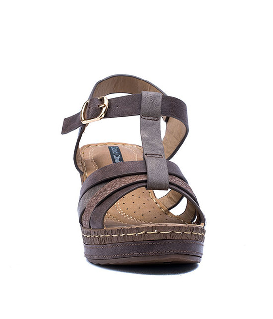 Dulchie Women Slip- On Wedge Sandal Brown