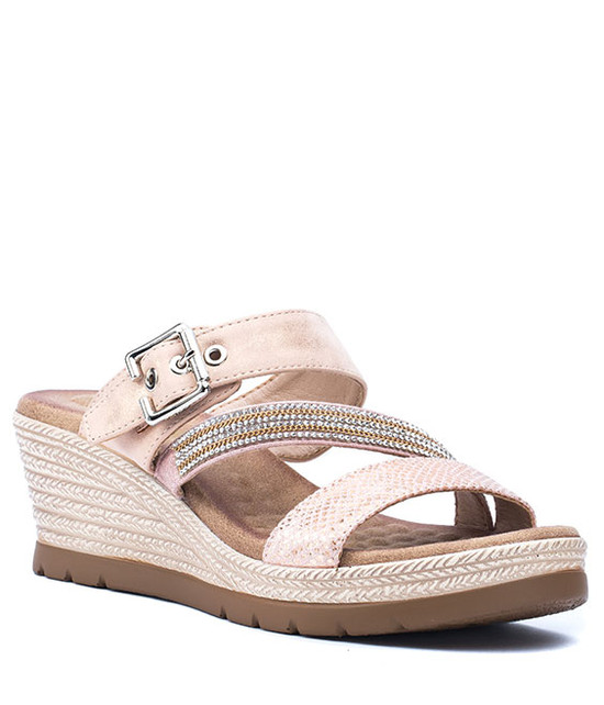 Monica Women Slip- On Wedge Sandal Rose Gold