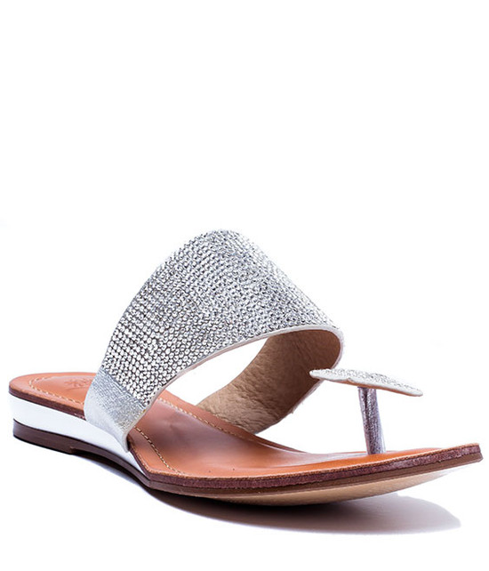Dollie Flat Post Toe Sandal Silver