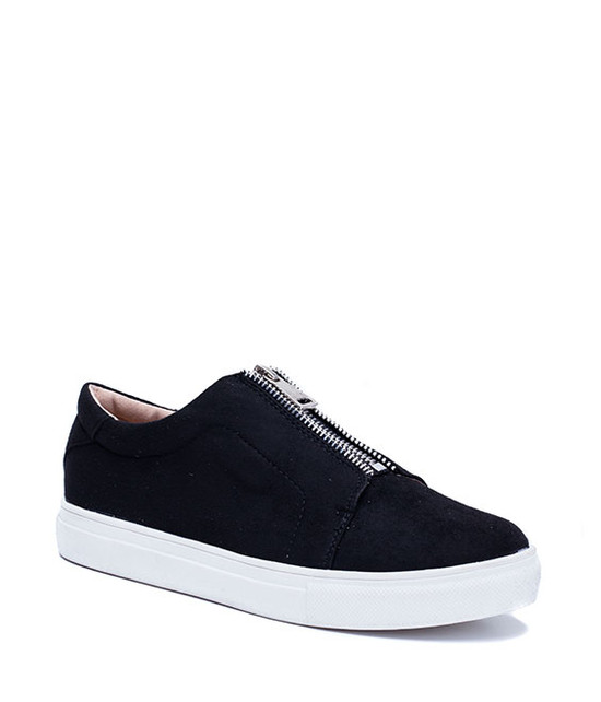 Monaco Unisex Sneaker With Zipper Detail Black