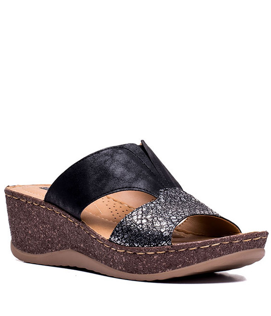 Serina Women Slip On Wedge Black
