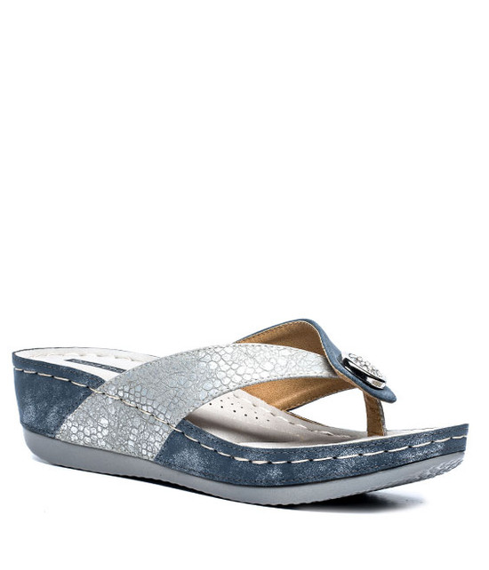 Dafni Wedge Sandals in Blue
