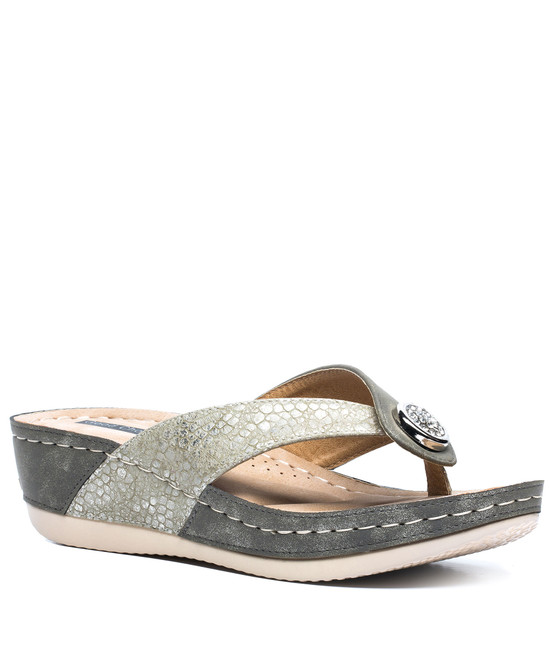 Dafni Slip On Sandals in Khaki