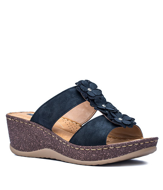LECIA SLIP-ON WOMEN WEDGE SANDALS BLACK