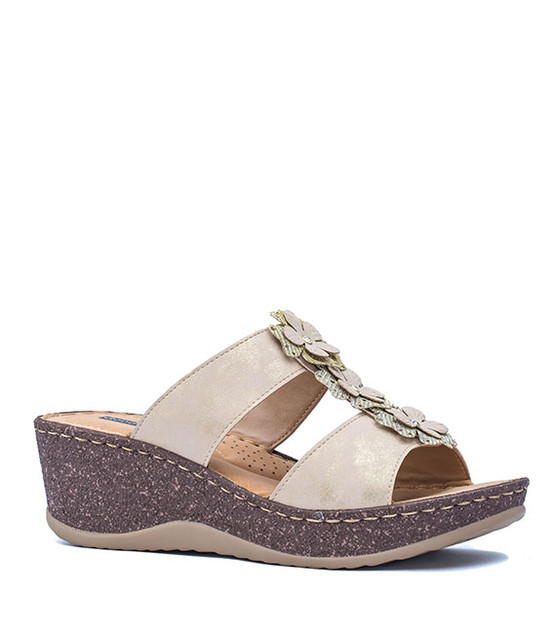 LECIA SLIP-ON WOMEN WEDGE SANDALS NATURAL