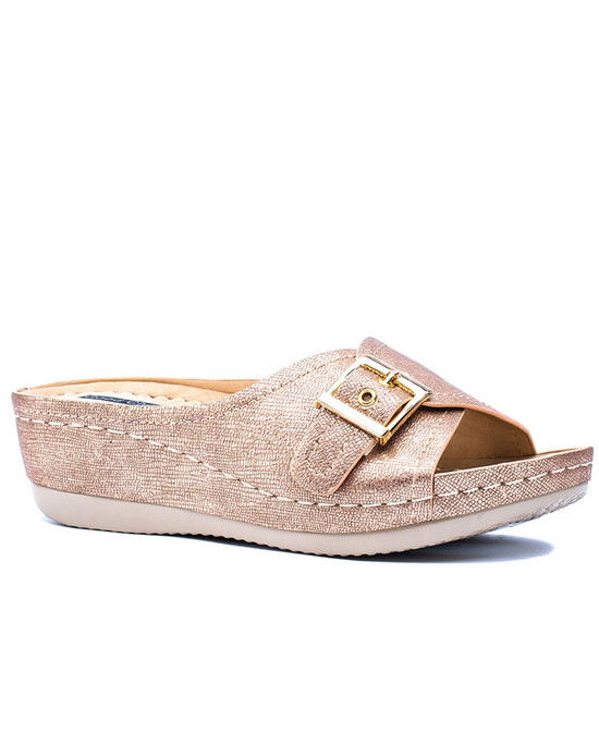 Justina Slip On Sandal in Gold
