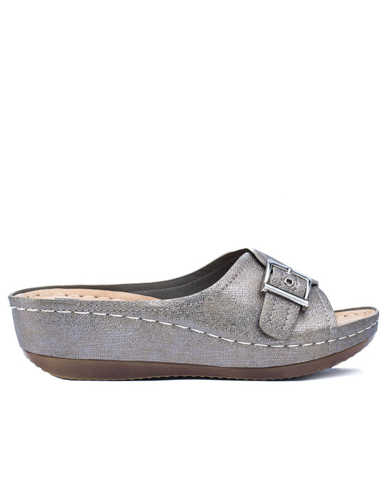 Justina Slip on Sandal in Pewter