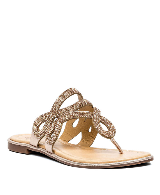 Amelia Flat Sandal in Rose Gold
