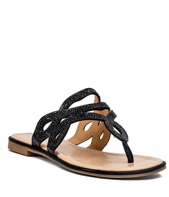 Amelia Flat Sandal in  Black
