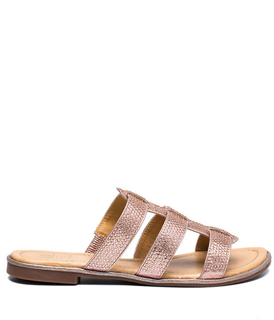 Lucy Studded Flat Sandal Rose Gold
