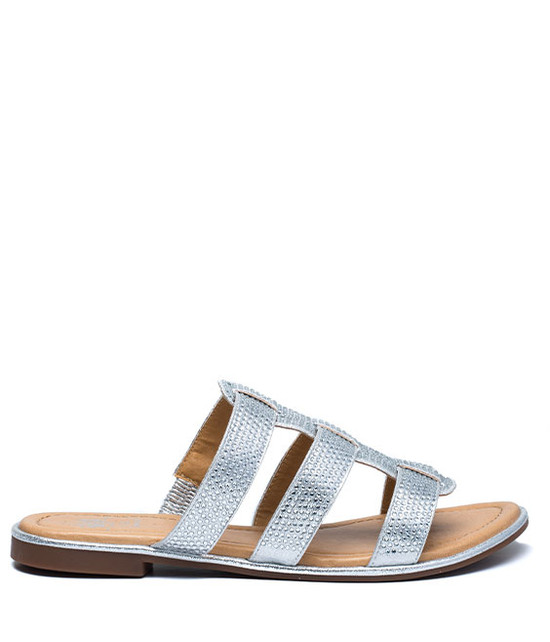Lucy Studded Flat Sandal Silver