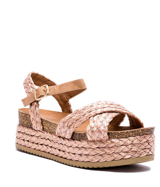 Patty Platform Wegdes Sandal Rose Gold