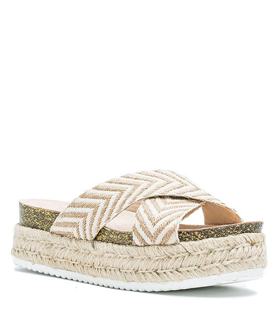 Roxanna Platform Slip On Wedges Natural