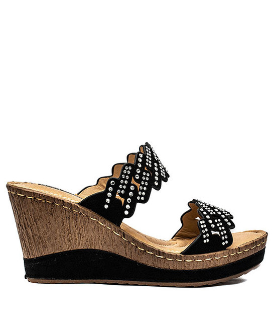 Adella Two Strip Wedge Women Sandals Black